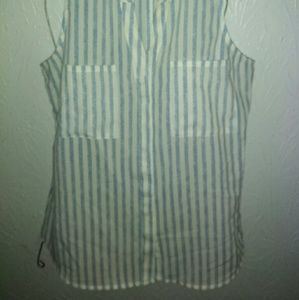 Sanctuary Tops - New Sanctuary Top M Striped Sleeveless Button